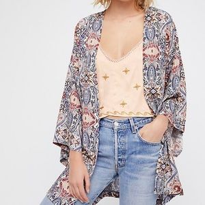 Free People Hermosa Robe paisley print red blue Small